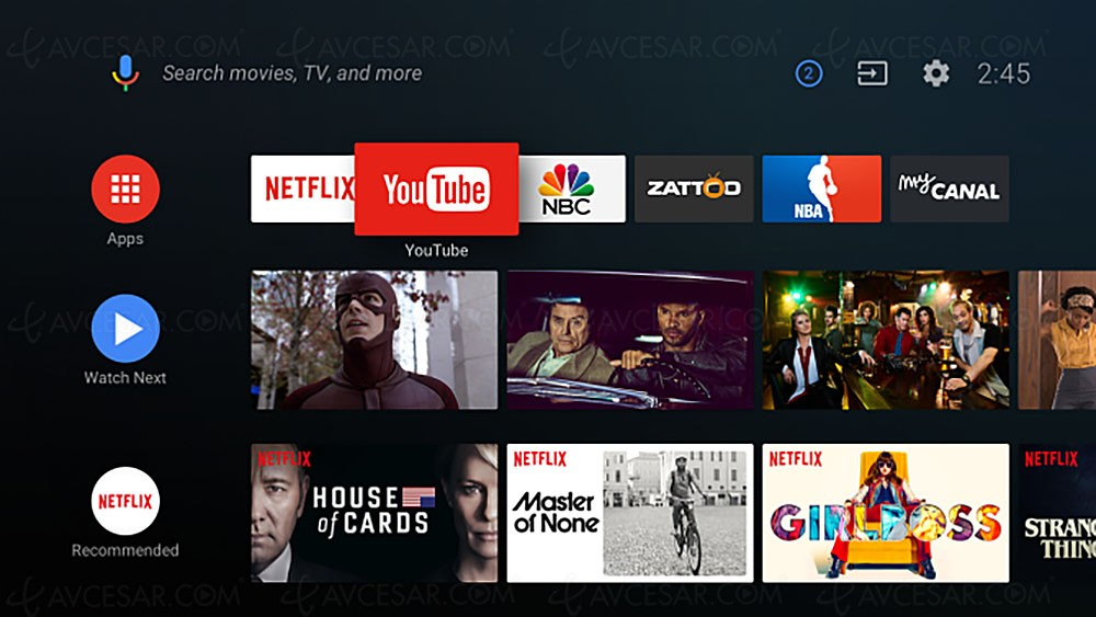 interface android tv